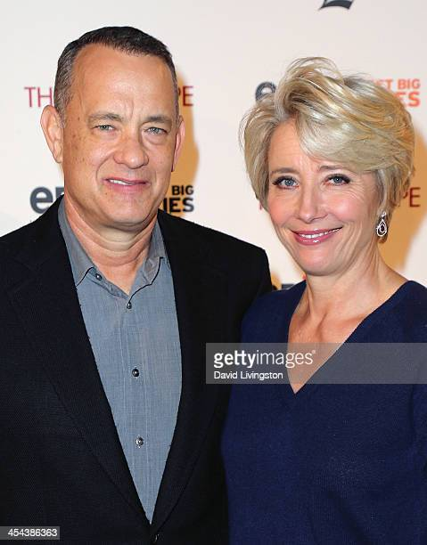 Actors Tom Hanks and Emma Thompson attend the LA Times' Envelope Screening of Disney's Saving Mr Banks at ArcLight Sherman Oaks on December 8 2013 in...