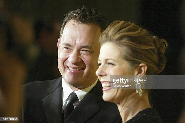 Actors Tom Hanks and his wife Rita Wilson arrive at the 13th Annual BAFTA/LA Britannia Awards at the Beverly Hilton Hotel on November 4 2004 in...