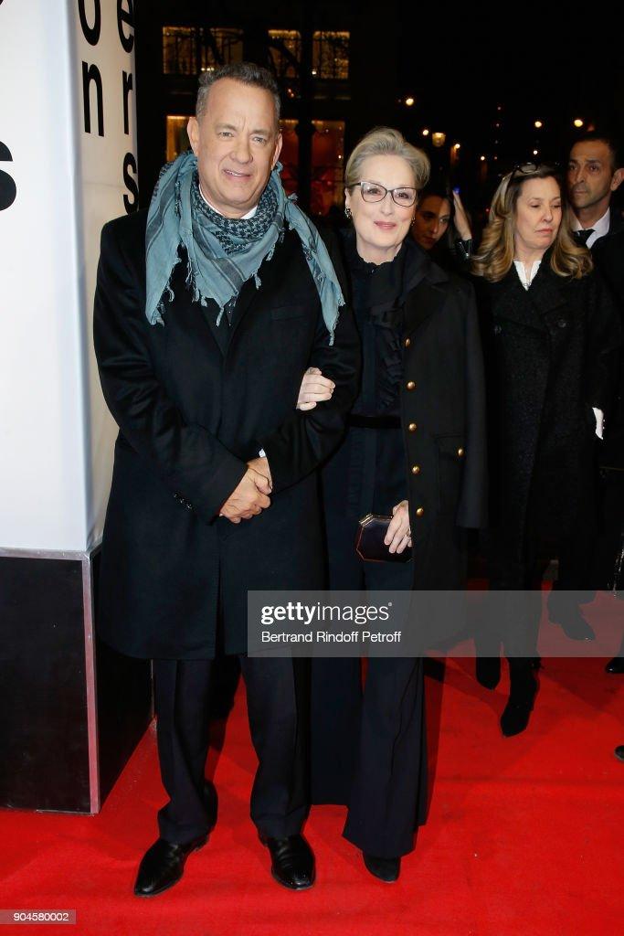 Actors Tom Hanks and Meryl Streep attend the 'Pentagon Papers' Paris Premiere at Cinema UGC Normandie on January 13, 2018 in Paris, France.