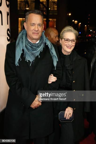 Actors Tom Hanks and Meryl Streep attend the 'Pentagon Papers' Paris Premiere at Cinema UGC Normandie on January 13 2018 in Paris France