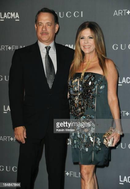 Actors Tom Hanks and Rita Wilson arrive at LACMA 2012 Art Film Gala at LACMA on October 27 2012 in Los Angeles California