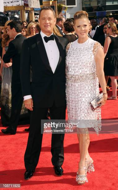 Actors Tom Hanks and Rita Wilson arrive at the 62nd Annual Primetime Emmy Awards held at the Nokia Theatre LA Live on August 29 2010 in Los Angeles...