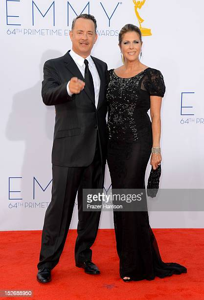 Actors Tom Hanks and Rita Wilson arrive at the 64th Annual Primetime Emmy Awards at Nokia Theatre LA Live on September 23 2012 in Los Angeles...