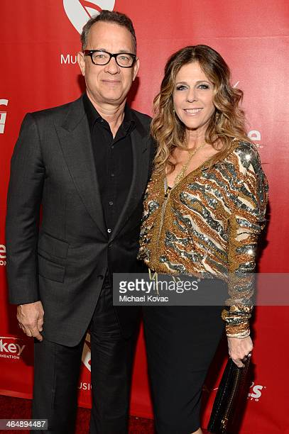 Actors Tom Hanks and Rita Wilson attend 2014 MusiCares Person Of The Year Honoring Carole King at Los Angeles Convention Center on January 24 2014 in...