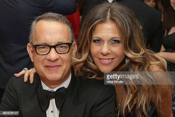 Actors Tom Hanks and Rita Wilson attend HBO's Post 2014 Golden Globe Awards Party at Circa 55 Restaurant on January 12, 2014 in Los Angeles,...