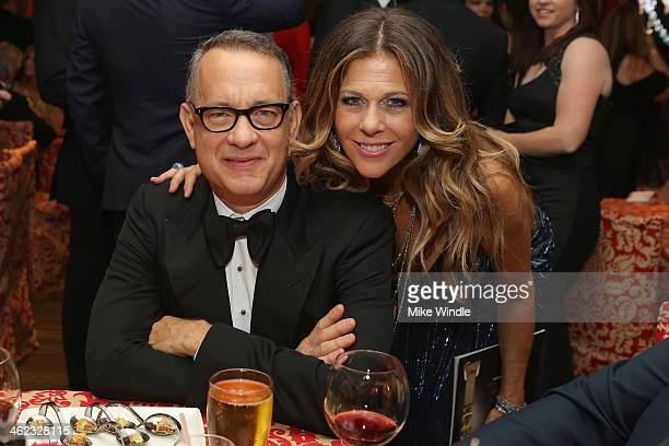 Actors Tom Hanks and Rita Wilson attend HBO's Post 2014 Golden Globe Awards Party at Circa 55 Restaurant on January 12 2014 in Los Angeles California
