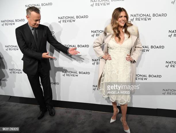 TOPSHOT Actors Tom Hanks and Rita Wilson attend the 2018 National Board of Review Awards Gala at Cipriani 42nd Street on January 9 2018 in New York...