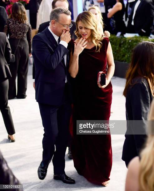 Actors Tom Hanks and Rita Wilson attend the 26th annual Screen ActorsGuild Awards at The Shrine Auditorium on January 19 2020 in Los Angeles...