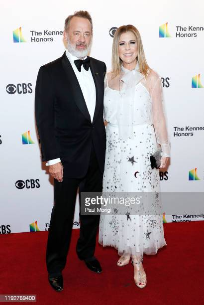Actors Tom Hanks and Rita Wilson attend the 42nd Annual Kennedy Center Honors Kennedy Center on December 08, 2019 in Washington, DC.