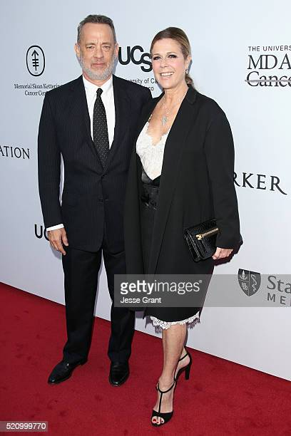 Actors Tom Hanks and Rita Wilson attend the launch of the Parker Institute for Cancer Immunotherapy an unprecedented collaboration between the...