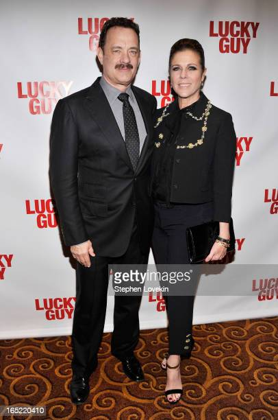 Actors Tom Hanks and Rita Wilson attend the Lucky Guy Broadway Opening Night after party at on April 1 2013 in New York City
