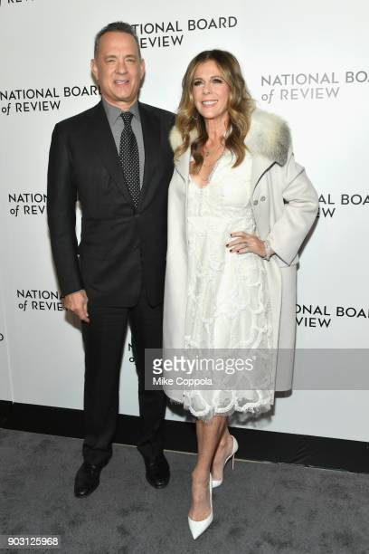 Actors Tom Hanks and Rita Wilson attends the 2018 The National Board Of Review Annual Awards Gala at Cipriani 42nd Street on January 9 2018 in New...