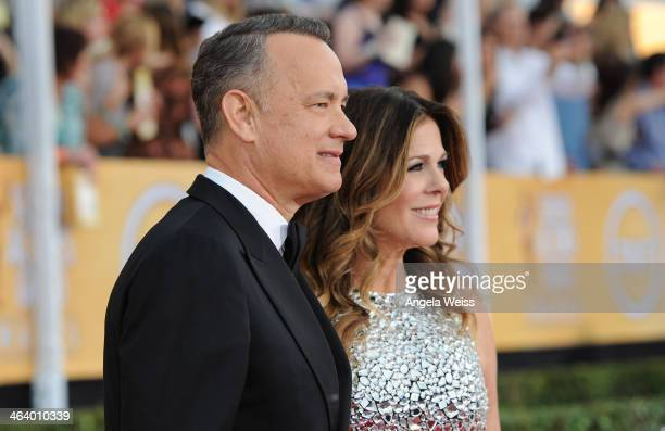 Actors Tom Hanks and Rita Wilson attends the 20th Annual Screen Actors Guild Awards at The Shrine Auditorium on January 18, 2014 in Los Angeles,...