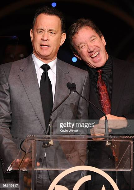 Actors Tom Hanks and Tim Allen speak onstage 2010 Producers Guild Awards held at Hollywood Palladium on January 24, 2010 in Hollywood, California.