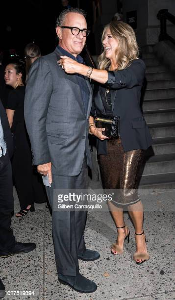Actors Tom Hanks and wife Rita Wilson are seen arriving to Tom Ford SS19 fashion show at Park Avenue Armory on September 5 2018 in New York City