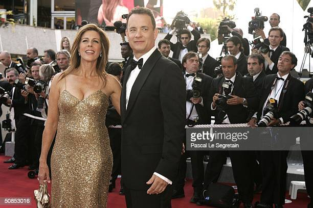 """Actors Tom Hanks and wife Rita Wilson attend the screening of the film """"The Ladykillers"""" at the Palais des Festivals during the 57th International..."""