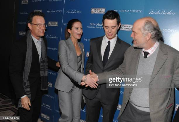 """Actors Tom Hanks, Emily Blunt, Colin Hanks and John Malkovich attend The Cinema Society and Brooks Brothers screening of """"The Great Buck Howard"""" at..."""