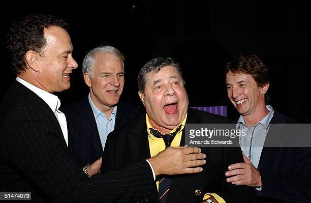 Actors Tom Hanks Steve Martin Jerry Lewis and Martin Short arrive at a special screening of The Nutty Professor hosted by Jerry Lewis on October 12...
