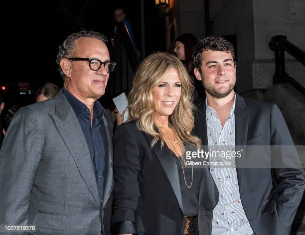 Actors Tom Hanks wife Rita Wilson and son Truman Theodore Hanks are seen arriving to Tom Ford SS19 fashion show at Park Avenue Armory on September 5...