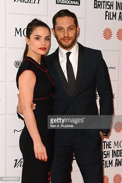 Actors Tom Hardy and Charlotte Riley arrive on the red carpet for the Moet British Independent Film Awards at Old Billingsgate Market on December 8...