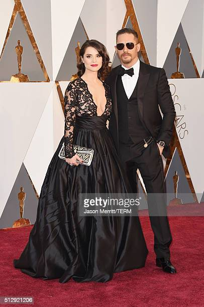Actors Tom Hardy and Charlotte Riley attend the 88th Annual Academy Awards at Hollywood Highland Center on February 28 2016 in Hollywood California