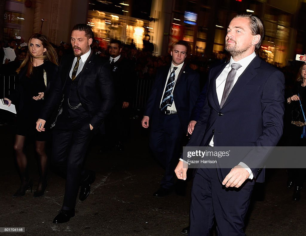 Actors Tom Hardy and Leonardo DiCaprio arrive at the Premiere Of 20th Century Fox And Regency Enterprises' 'The Revenant' at TCL Chinese Theatre on December 16, 2015 in Hollywood, California.