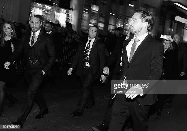"""Actors Tom Hardy and Leonardo DiCaprio arrive at the Premiere Of 20th Century Fox And Regency Enterprises' """"The Revenant"""" at TCL Chinese Theatre on..."""