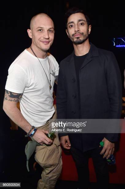 Actors Tom Hardy and Riz Ahmed attend the CinemaCon 2018 Gala Opening Night Event Sony Pictures Highlights its 2018 Summer and Beyond Films at The...