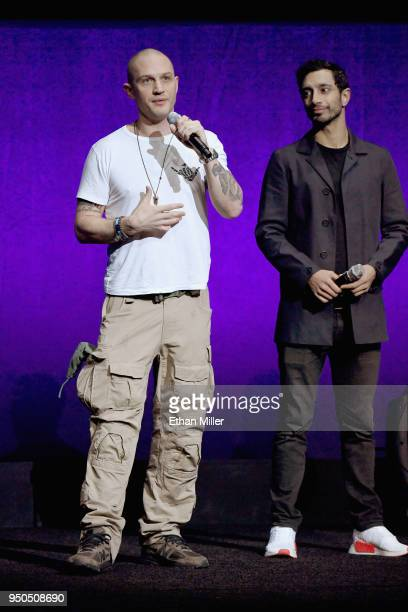 Actors Tom Hardy and Riz Ahmed speak onstage during the CinemaCon 2018 Gala Opening Night Event Sony Pictures Highlights its 2018 Summer and Beyond...
