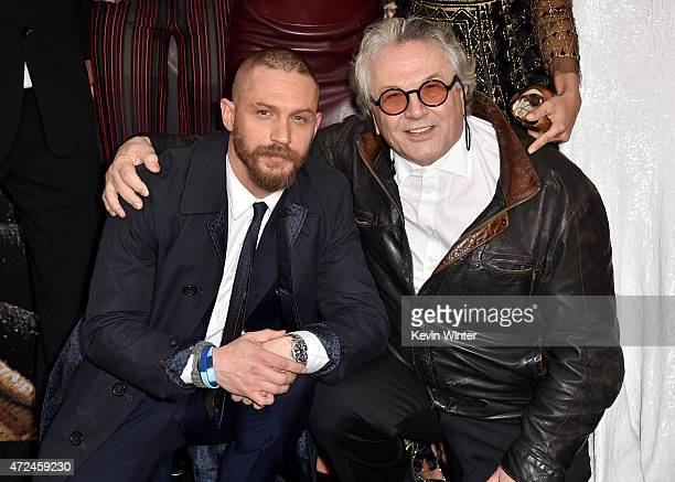 Actors Tom Hardy and Writer/Director/Producer George Miller attend the premiere of Warner Bros Pictures' Mad Max Fury Road at TCL Chinese Theatre on...