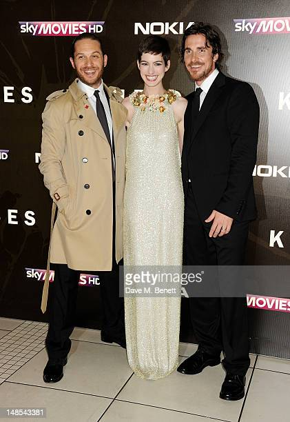 Actors Tom Hardy Anne Hathaway and Christian Bale attend the European Premiere of 'The Dark Knight Rises' at Odeon Leicester Square on July 18 2012...
