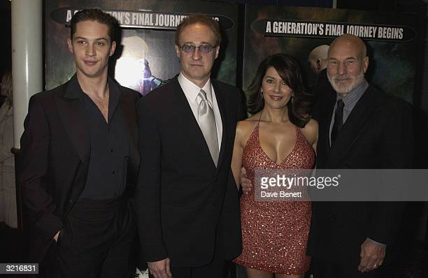 """Actors Tom Hardy, Brent Spiner, Marina Sirtis, and Patrick Stewart attend the UK film premiere of """"Star Trek Nemesis"""" at the Leicester Square Odeon..."""