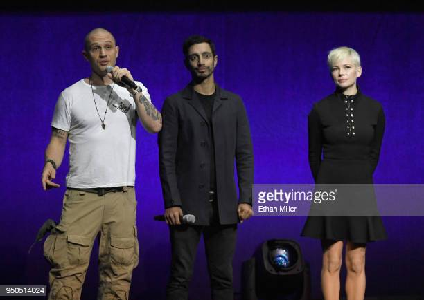 Actors Tom Hardy Riz Ahmed and Michelle Williams speak onstage during the CinemaCon 2018 Gala Opening Night Event Sony Pictures Highlights its 2018...