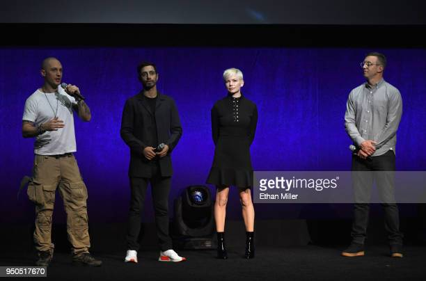 Actors Tom Hardy Riz Ahmed Michelle Williams and Director Ruben Fleischer speak onstage during the CinemaCon 2018 Gala Opening Night Event Sony...