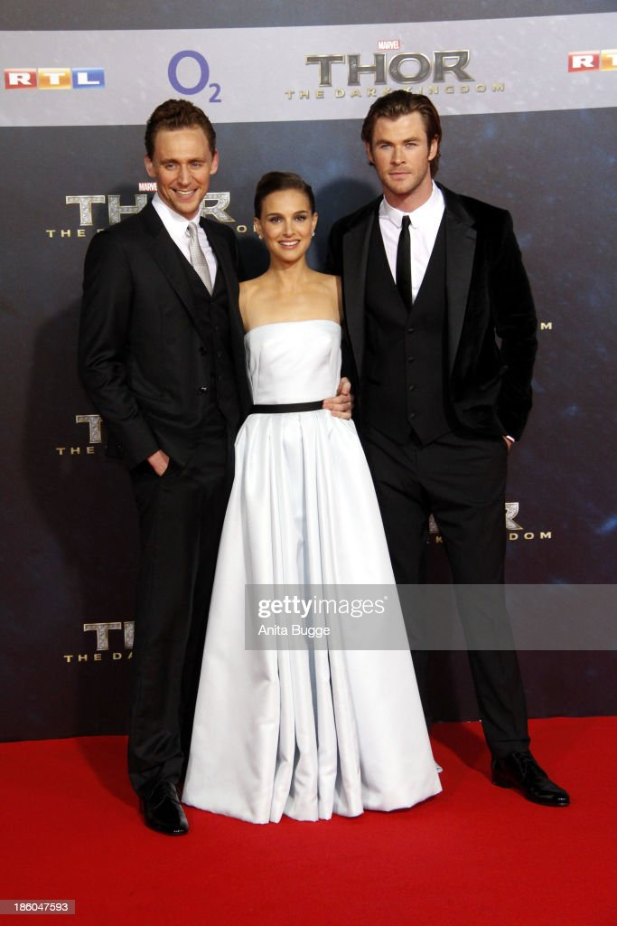 Actors Tom Hiddleston, actress Natalie Portman and actor Chris Hemsworth attend the 'Thor: The Dark World' Germany premiere at Cinestar on October 27, 2013 in Berlin, Germany.
