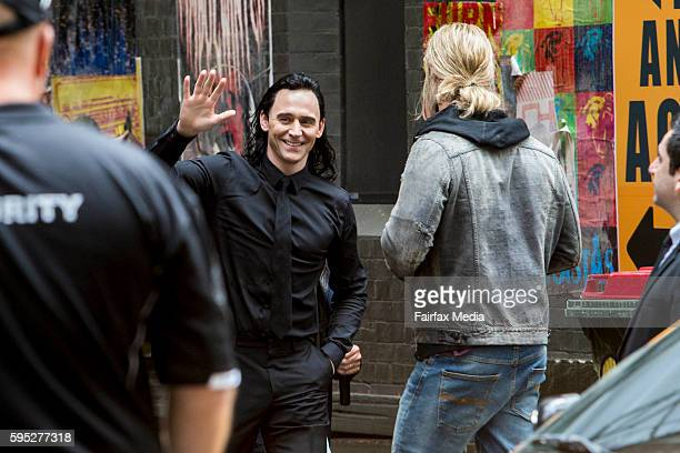 Actors Tom Hiddleston and Chris Hemsworth are seen on the set of the film 'Thor Ragnarok' on August 23 2016 in Brisbane Australia