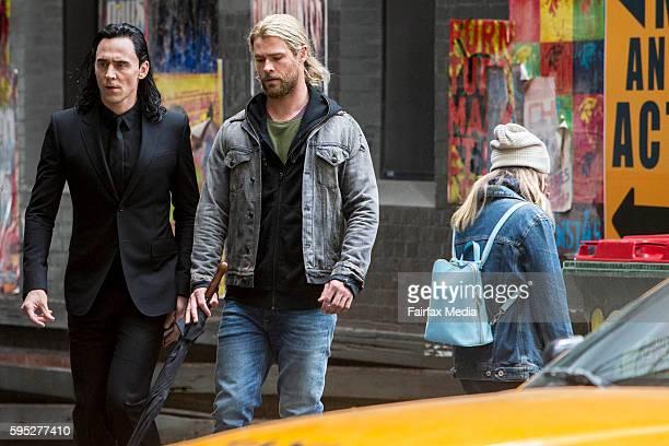 Actors Tom Hiddleston and Chris Hemsworth are seen on the set of the film 'Thor Ragnarok' on August 23 2016 in Brisbane Australia