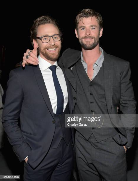 Actors Tom Hiddleston and Chris Hemsworth attend the Los Angeles Global Premiere for Marvel Studios' Avengers Infinity War on April 23 2018 in...