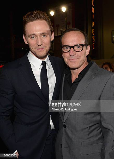 Actors Tom Hiddleston and Clark Gregg attend Marvel's Thor The Dark World Premiere at the El Capitan Theatre on November 4 2013 in Hollywood...