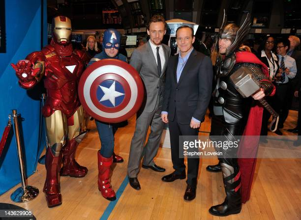 "Actors Tom Hiddleston and Clark Gregg pose for a photo as part of a celebration of the release of Marvel Studios' ""Marvel's The Avengers"" after..."