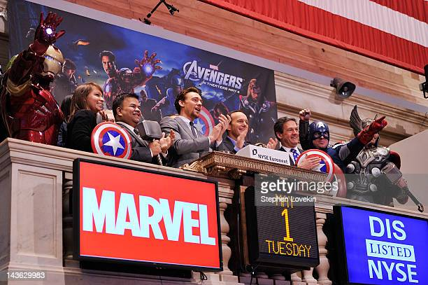 Actors Tom Hiddleston and Clark Gregg ring the opening bell at The New York Stock Exchange as part of a celebration of the release of Marvel Studios...