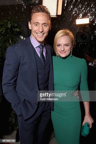 Actors Tom Hiddleston and Elisabeth Moss attend the SPC Toronto Party during the 2015 Toronto International Film Festival at Creme Brasserie on...