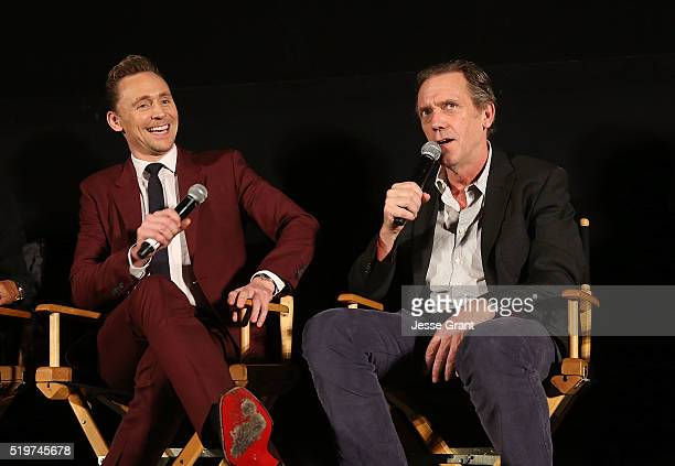 Actors Tom Hiddleston and Hugh Laurie attend the ATAS/SAG Panel and Screening of AMC's The Night Manager at the Egyptian Theater on April 7 2016 in...