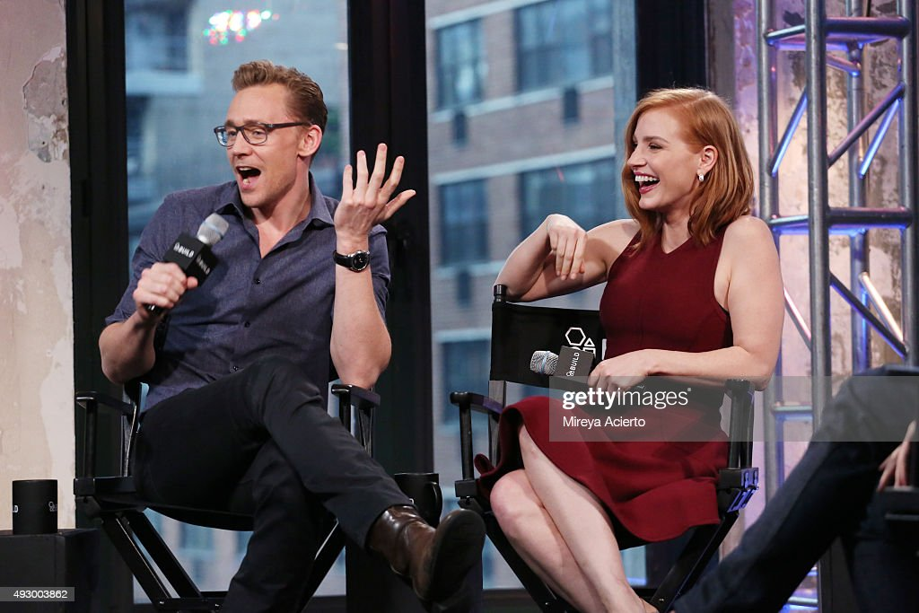 Actors Tom Hiddleston and Jessica Chastain attend AOL BUILD Presents 'Crimson Peak' at AOL Studios on October 16, 2015 in New York City.