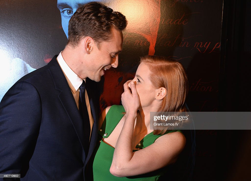 Actors Tom Hiddleston and Jessica Chastain attend 'Crimson Peak' New York Premiere at AMC Loews Lincoln Square on October 14, 2015 in New York City.