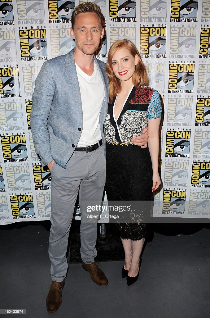 Actors Tom Hiddleston (L) and Jessica Chastain pose at the Legendary Pictures panel during Comic-Con International 2015 the at the San Diego Convention Center on July 11, 2015 in San Diego, California.