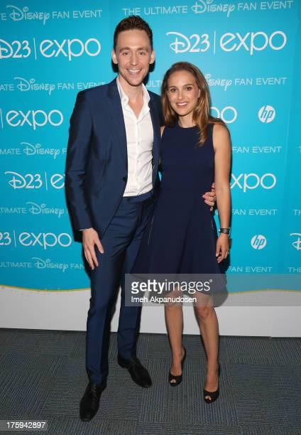 Actors Tom Hiddleston and Natalie Portman of Thor The Dark World attend Let the Adventures Begin Live Action at The Walt Disney Studios presentation...