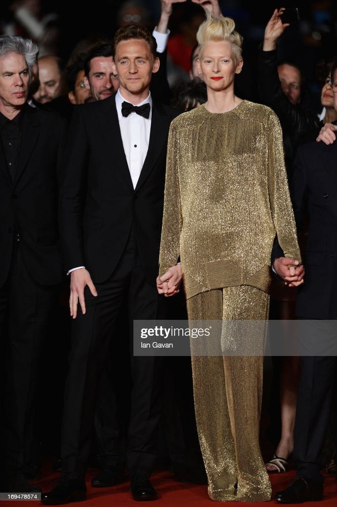 Actors Tom Hiddleston and Tilda Swinton attend the 'Only Lovers Left Alive' premiere during The 66th Annual Cannes Film Festival at the Palais des Festivals on May 25, 2013 in Cannes, France.