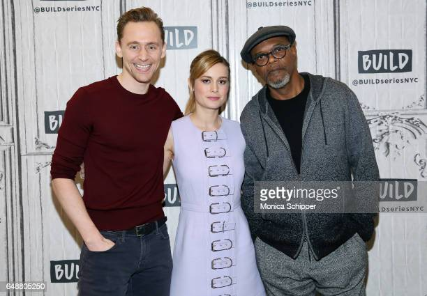 Actors Tom Hiddleston Brie Larson and Samuel L Jackson attend Build Series Presents The Cast Of 'Kong Skull Island' at Build Studio on March 6 2017...