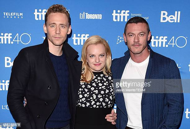 Actors Tom Hiddleston Elisabeth Moss and Luke Evans attend the HighRise press conference at the 2015 Toronto International Film Festival at TIFF Bell...